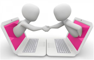 two figures meeting through computer screens